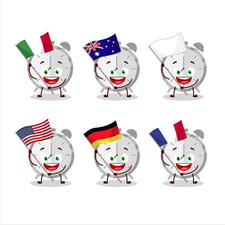 Alarm clock cartoon character bring the flags of various countries Illustration