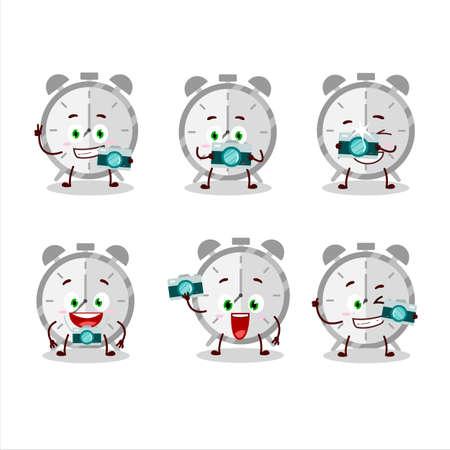 Photographer profession emoticon with alarm clock cartoon character
