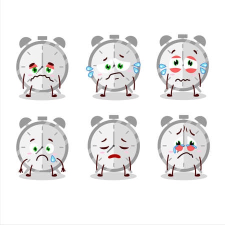 Alarm clock cartoon character with sad expression
