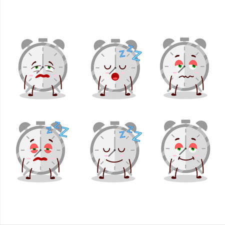 Cartoon character of alarm clock with sleepy expression Illustration