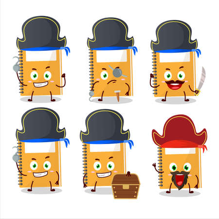 Cartoon character of orange study book with various pirates emoticons