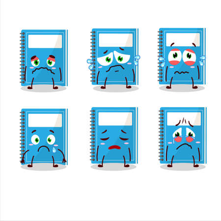 Blue study book cartoon character with sad expression