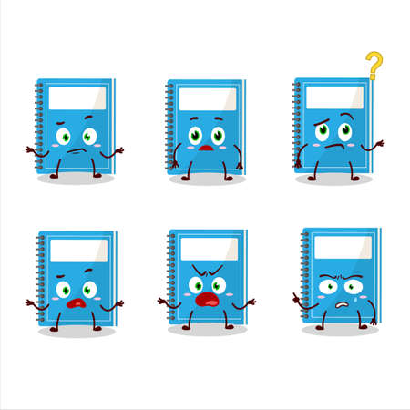 Cartoon character of blue study book with what expression