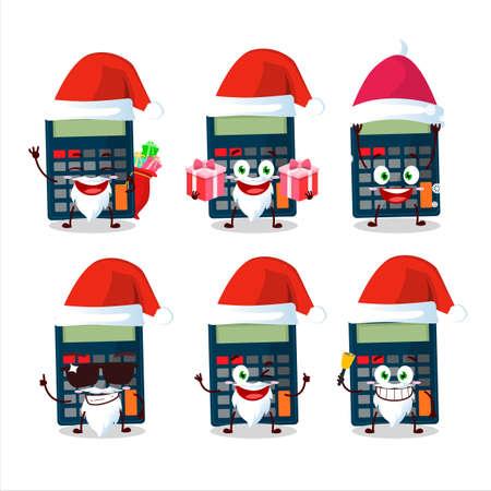 Santa Claus emoticons with calculator cartoon character 일러스트