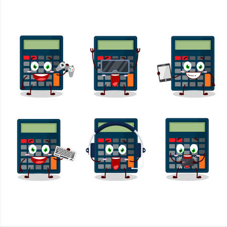 Calculator cartoon character are playing games with various cute emoticons