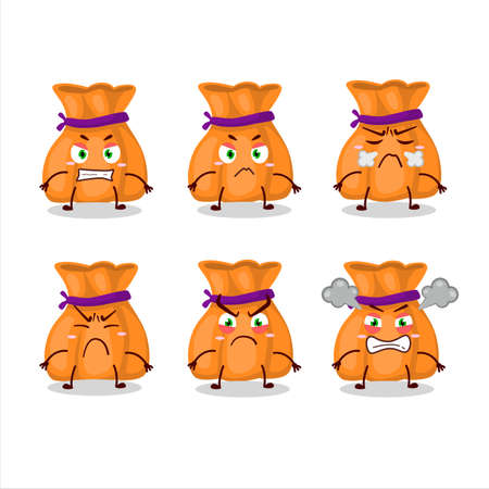 Orange candy sack cartoon character with various angry expressions Vettoriali
