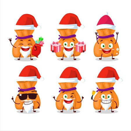 Santa Claus emoticons with orange candy sack cartoon character 일러스트