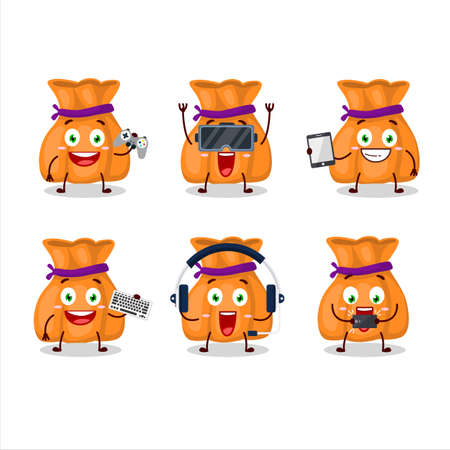 Orange candy sack cartoon character are playing games with various cute emoticons