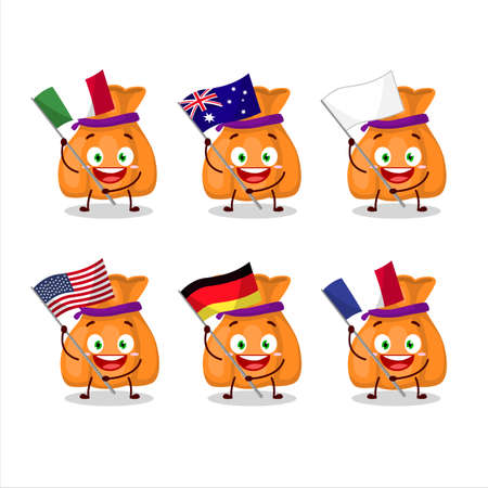 Orange candy sack cartoon character bring the flags of various countries Stock Illustratie