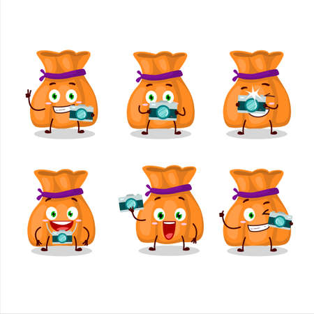 Photographer profession emoticon with orange candy sack cartoon character