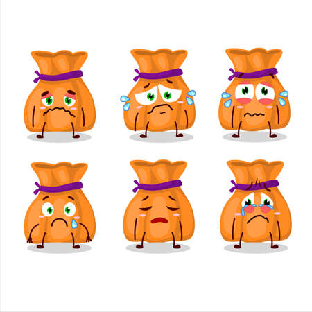 Orange candy sack cartoon character with sad expression