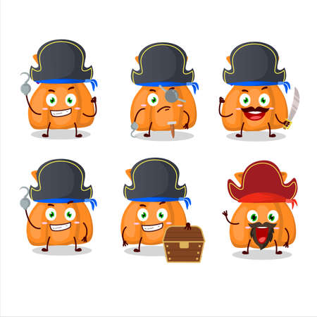 Cartoon character of orange candy sack with various pirates emoticons Stock Illustratie