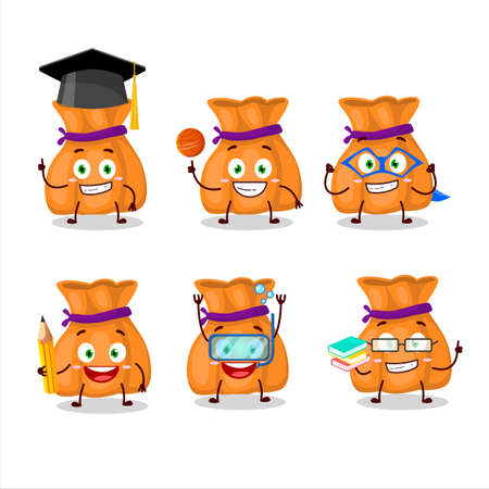 School student of orange candy sack cartoon character with various expressions