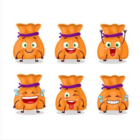 Cartoon character of orange candy sack with smile expression