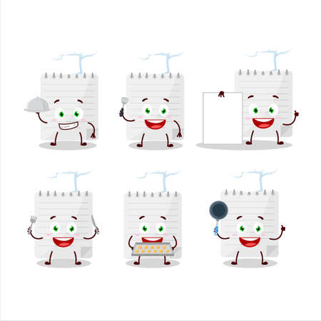 Cartoon character of sticky notes with various chef emoticons