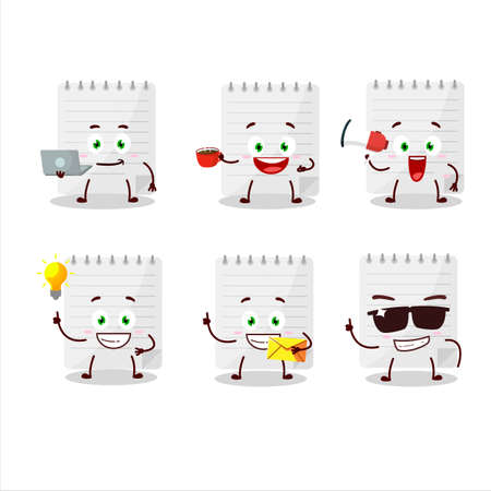 Sticky notes cartoon character with various types of business emoticons Stock Illustratie