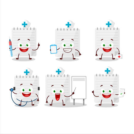 Doctor profession emoticon with sticky notes cartoon character