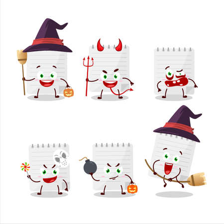 Halloween expression emoticons with cartoon character of sticky notes