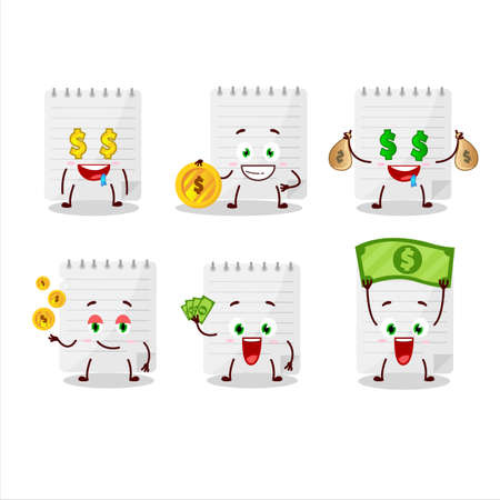Sticky notes cartoon character with cute emoticon bring money