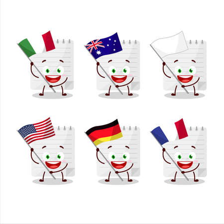 Sticky notes cartoon character bring the flags of various countries Vettoriali