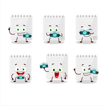 Photographer profession emoticon with sticky notes cartoon character