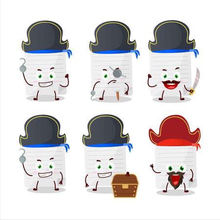 Cartoon character of sticky notes with various pirates emoticons