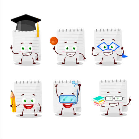 School student of sticky notes cartoon character with various expressions Stock Illustratie