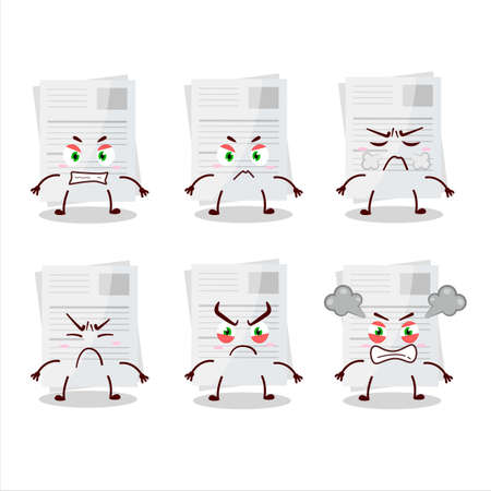 Essay paper cartoon character with various angry expressions