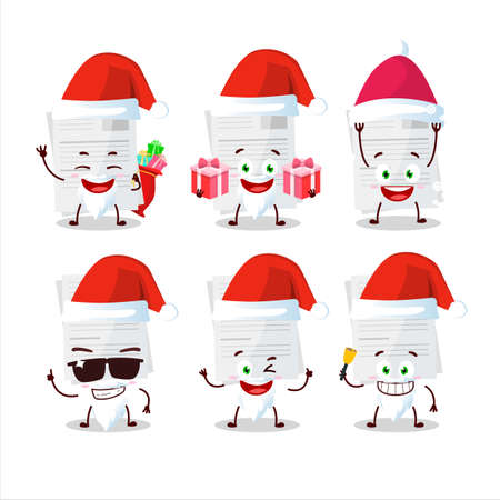Santa Claus emoticons with essay paper cartoon character