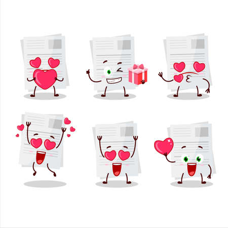 Essay paper cartoon character with love cute emoticon