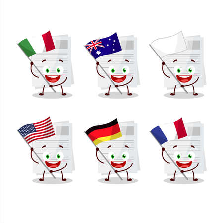 Essay paper cartoon character bring the flags of various countries Stock Illustratie