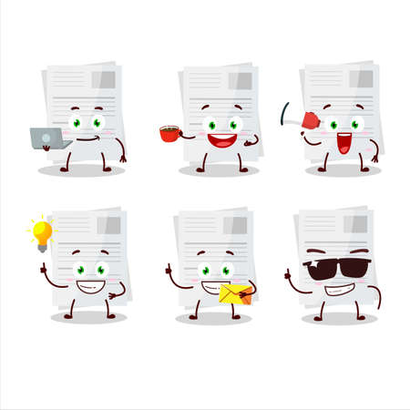 Essay paper cartoon character with various types of business emoticons Stock Illustratie