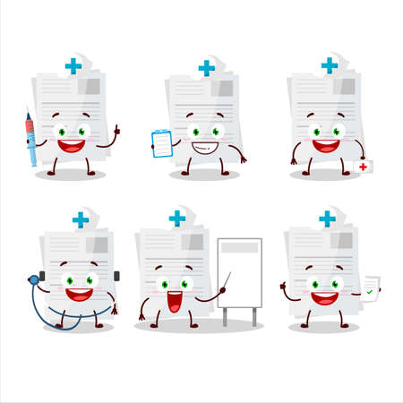 Doctor profession emoticon with essay paper cartoon character