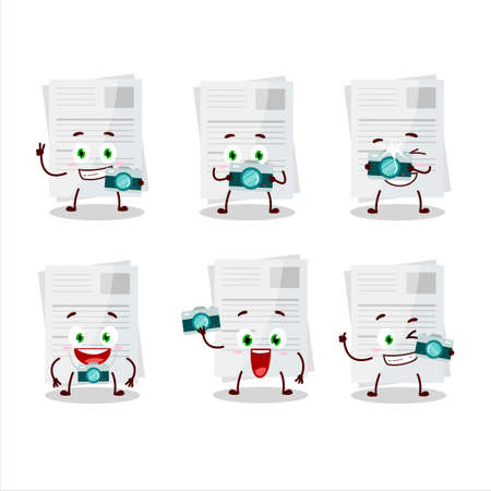 Photographer profession emoticon with essay paper cartoon character Stock Illustratie