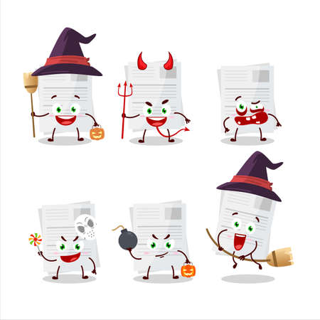 Halloween expression emoticons with cartoon character of essay paper