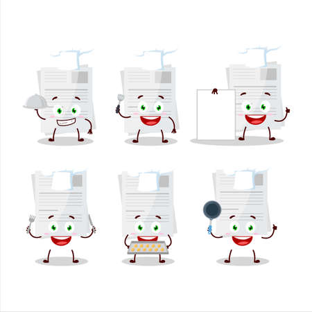 Cartoon character of essay paper with various chef emoticons Stock Illustratie