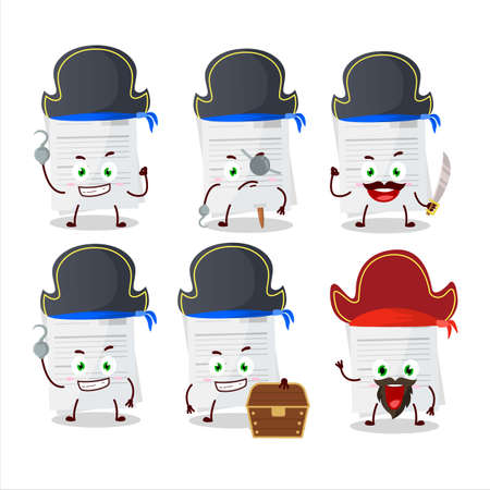 Cartoon character of essay paper with various pirates emoticons