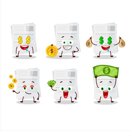 Essay paper cartoon character with cute emoticon bring money