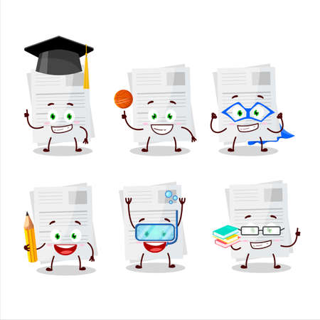 School student of essay paper cartoon character with various expressions