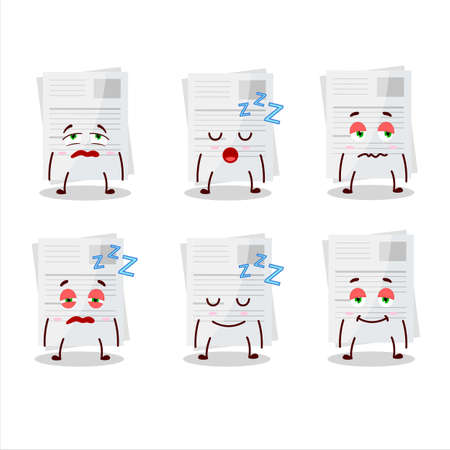 Cartoon character of essay paper with sleepy expression Stock Illustratie