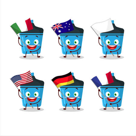 Blue highlighter cartoon character bring the flags of various countries