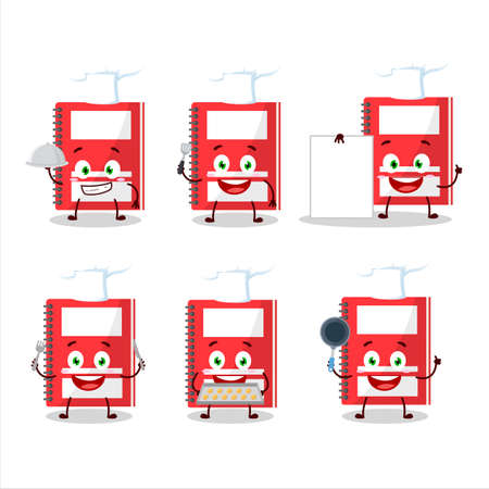 Cartoon character of red study book with various chef emoticons