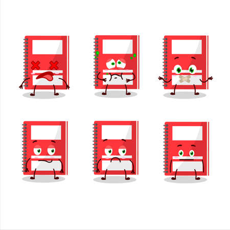 Red study book cartoon character bring the flags of various countries Vettoriali