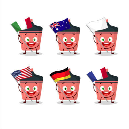 Pink highlighter cartoon character bring the flags of various countries