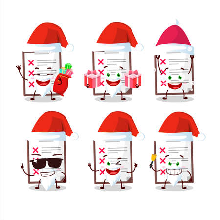 Santa Claus emoticons with clipboard with cross check cartoon character Vettoriali