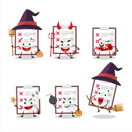 Halloween expression emoticons with cartoon character of clipboard with cross check