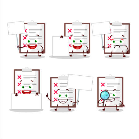 Clipboard with cross check cartoon character bring information board Illustration
