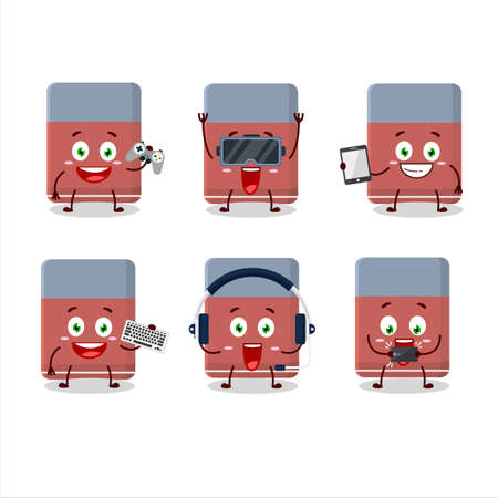Eraser cartoon character are playing games with various cute emoticons