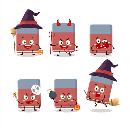 Halloween expression emoticons with cartoon character of eraser Vettoriali