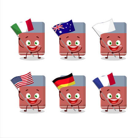 Eraser cartoon character bring the flags of various countries Ilustrace